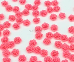 Wholesale CLEARANCE Resin Mini Rose Flowers mm coral pink colors