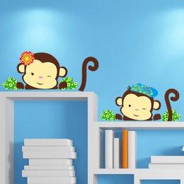 Wholesale Monkey Animation Wall Stickers For Kids Rooms Cartoon Kitchen Papel De Parede Infantil DIY Papel De Parede Posters