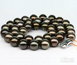 Wholesale - Best Buy Pearl Jewelry natural stunning 10-11mm tahitian black red green pearl necklace 18inch 925silver clasp