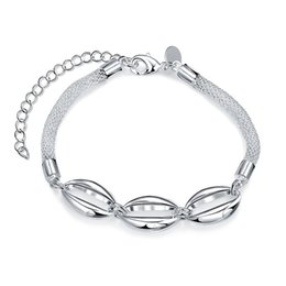 Hot sale christmas gift 925 silver Hollow oval bracelet DFMCH378,Brand new fashion 925 sterling silver plate Chain link bracelets high grade
