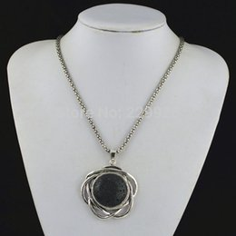 Wholesale N58G Lava Rock Oval Volcano Necklace Pendant Natural Stone not plastic or resin Vintage Tibet Alloy Antique Silver Jewelry