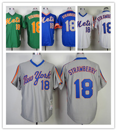 Baseball Jerseys Men Mets #18 STRAWBERRY White Blue Green Grey Throwback stripe Jerseys stitched Top quality Mix Order Free Fast Shipping