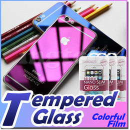 Wholesale For iPhone I5 S I6 plus Front and Back Color Mirror tin Screen Protector Tempered Glass Color Mirror Real Tempered Glass Screen Protector