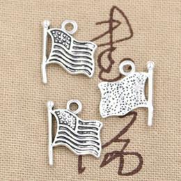 Wholesale 200pcs Charms usa flag mm Antique Zinc alloy pendant fit Vintage Tibetan Silver DIY for bracelet necklace