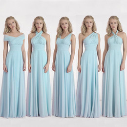 Wholesale Convertible Long Chiffon Bridesmaid Dress One Shoulder Pleated Bridesmaid Party Dress For Wedding Custom Made