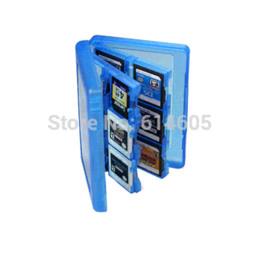Azul 28-en-1 Juego de cubierta de la caja de tarjeta de memoria de almacenamiento al soporte del cartucho para el cartucho de Nintendo 3DS para el carro de almacenamiento desde memoria xbox proveedores