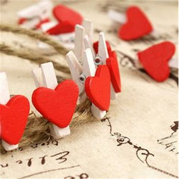 Wholesale 50pcs Bag Red Heart Shape Wooden Clips Mini Wooden Clothes Peg Mini Clips for Wedding Favors