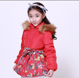 Wholesale 2015 Hot Sale Fashion Kids Down Coats Lovely Flower Printed Hooded Coats For Children Bow And Furry Collar Girls Jackets For Winter CR345