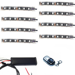 8pcs 15 Color 48 SMD5050 RGB LED Wireless Remote Control Lights Kits For Cycle Accent Lighting