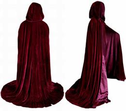 Wholesale Burgundy Bridal Wedding Cloak Artemisia Designs Renaissance Medieval Lined Velvet Cloak Wine Red Bridal Wraps One Size Christmas Cape