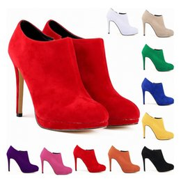 Wholesale New Fashion Synthetic Flock Platform High Heels Ladies Women Autumn Winter Casual Ankle Boots Shoes Us Size D0005