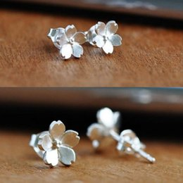 Wholesale Cute Sweet 925 Sterling Silver Sakura Flower Ear Stud Earrings Gift For Lady Girl Woman Party