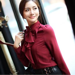 Wholesale Collar Decorated Ladies - Korean Style New 2015 Fashion Women Solid Work Shirts Turtleneck Button Decorated Collar Design Lady Blouse Candy Color HO661336