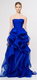 Wholesale Beautiful Princess Strapless Royal Blue Pleats Rolling Skirt Long Fashion Show Formal Evening Dresses Prom Gowns New Arrival