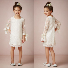 Cheap 2015 Flower Girls Dresses with Long Sleeves Jewel Neck Knee Length Lace Kids Wedding Dresses EA0049
