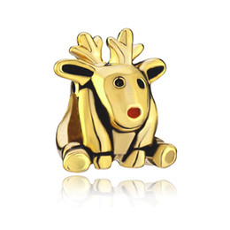 High quality gold plated red nose deer animal European bead metal charm girls bracelets with large hole Pandora Chamilia Compatible
