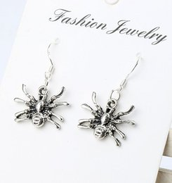 Wholesale MIC x29mm Antique Silver D Crawling Spider Charm Pendant Earrings Silver Fish Ear Hook Jewelry E037