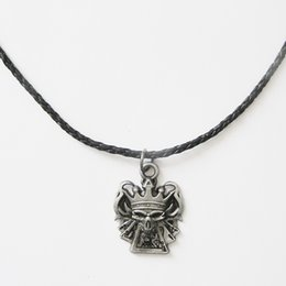 Men Leather Necklace Skull Poker Casino Real Leather Charm Necklace NECKLACE-SK012