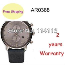 Wholesale New Arrival AR0388 AR Mens Black Leather Strap Chronograph Watch Gents Grey Dial Wristwatch Original box