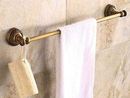 Wholesale Rozin Art Carved Style Wall Mount Single Towel Bar Antique Brass Towel Rack