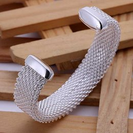 Wholesale-New Fashion Free shipping silver Plated jewelry bangle fine fashion Brass Web bracelets bangles SMTB029