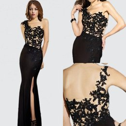 New Arrival 2015 Stunning Long Sheath Lace Appliques Black Nude Prom Dresses Party Dresses One-Shoulder evening gowns high quality new style