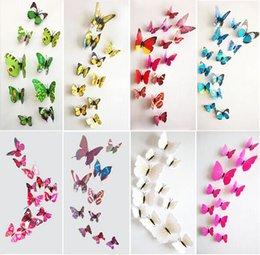 1200 Pcs Lot PVC 3D Butterfly Wall Stickers Decals Home Decor Poster for Kids Rooms Adhesive to Wall Decoration Adesivo De Parede
