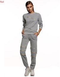Hot Womens Tracksuit Sexy Zip Cut Out Sweatshirts Jogging Suits Women Tracksuits Sport Suits Pants Set Jogging Hoodies Black Grey SV026549