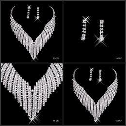 Wholesale Best selling Rhinestone Jewelry Necklace Earring Set Real Image Ear Stud type Lobster clasp Prom Wedding Bridal Earrings Necklace