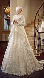 Muslim Modest High Collar Wedding Dresses 2016 Tiered Ruffles Arabian Bridal Dress Keffiyeh Long Sleeve Lace Appliques High Quality Gowns