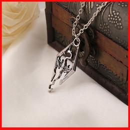 Wholesale skyrim dragon necklace Ancient silver Skyrim Elder Scrolls Dragon Pendants necklaces Vintage Dinosaur Pendants men statement jewelry