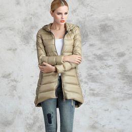 Wholesale-6XL High Quality Winter Jacket Women Coat Plus Size Lightweight Jackets Ladies Hooded Ultra Light White Duck Down Jacket ZL0556
