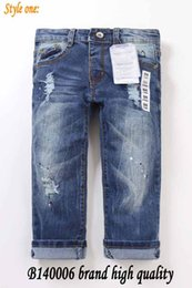 Wholesale Ripped kids jeans Spring Autumn Kids Long Jeans Children Overall Jean pants Boy Brand High quality Destroyed Wash jeans