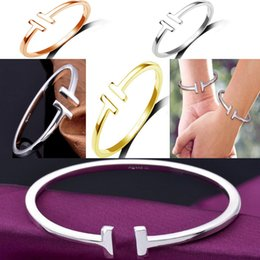 Wholesale Silver Ring Singapore - Europe and the United States with big star T couples sterling silver bracelet Popular double T open hand ring female - K071 fashion accessor