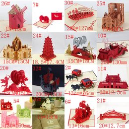Westminster Cathedral Handmade Creative Kirigami Origami 3D Valentine's Day birthday wedding Invitations Gift Greeting Cards Free Shipping