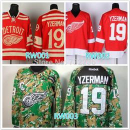 2014 cheap stitched NHL Detroit Red Wings #19 Steve Yzerman red  camo ice hockey jersey shirt sportswear