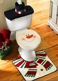 Christmas Snowman toilet bowl + ground cover + water tank cover + paper towel sets Christmas supplies
