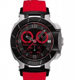 Hot Luxury Mens Swiss Watches T-race Portatil T0484172705702 Watch Red Rubber Band Quartz chronograph COUTURIER 1853 Wristwatches For Men