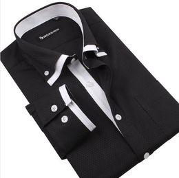 FG1509 New fashion Mens dress shirts Stylish Casual shirts,Business Shirt For Men long sleeve pure black Dobby shirts MST1210