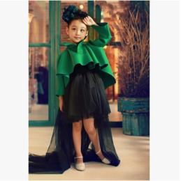 Descuento faldas para las muchachas de los niños 2016 nuevos cabritos especiales de la muchacha de los cabritos cubren los equipos verdes de los niños de la falda de los equipos de los outfits 2Pcs que arropan con Heandwear YX3821