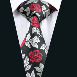 Necktie for Men Red Flower Silk Jacquard Woven Casual Business Party Work Formal Meeting Tie D-0348