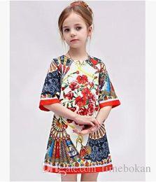 Retail Kids A Line Fashion Ethnic Flower Baby Girls Princess Chiffon Half sleeve Pleated Dresses Wholesale Kids Clothes 2-6T