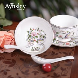 Wholesale Britain Aynsley bone china tableware tablespoon canary bird ceramic spoon small spoon coffee spoon rice