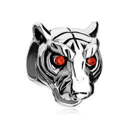 Silver Color Plating red crystal eye tiger Bead European Black Enamel Charm Fit Pandora Bracelet