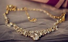 gold*sivler crystal wedding bride set necklace earings (hb3308)