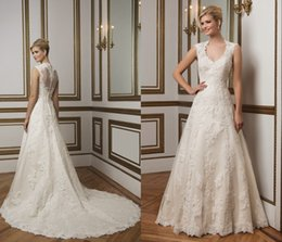 Wholesale 2015 A Line Wedding Dresses Queen Anne Neckline Cap Sleeves Beaded Justin Alexander Ivory Lace Bridal Gowns Appliques Covered Button