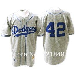 Wholesale Brooklyn LA Dodgers shirts Jackie Robinson road gray throwback m n retro older vintage baseball jerseys