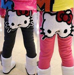 Wholesale Winter and Autumn Children Girls Leggings Cartoon KT Velvet Inside Leggings Soft Cotton Pants For Dress Kids Casual legging