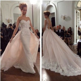 Wholesale Arabian Detachable Skirt Wedding Dresses Bridal Gowns with Illusion Sheer Jewel Neck New Ivory Lace Vestido de Novia