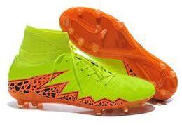 2015 Nueva llegada ACC Mens Soccer Shoes Brand grapas para hombre Botas de fútbol Superfly CR7 Hombre Fútbol zapatos Tobillo FG verde Naranja desde naranja marca de botas de fútbol fabricantes